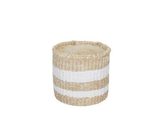 Vaso Pueblo tondo basso naturale/bianco cm. 17,5