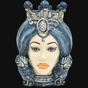 Testa di Moro ( femmina ) turbante mono blu h. cm.40