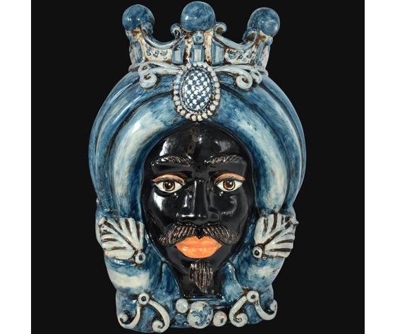 Testa di Moro ( maschio moro ) turbante mono blu h. cm.40