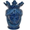 Testa h 40 liscia blu integrale femmina ceramiche moderne vaso a testa