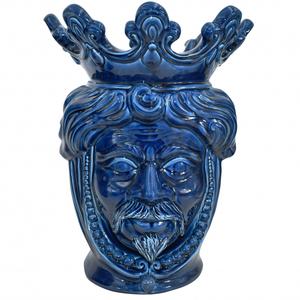Testa di Moro ( uomo ) perline blu integrale h. cm.40