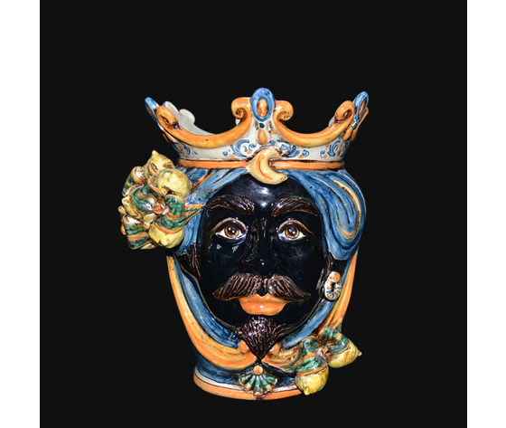 Testa di Moro ( maschio moro ) limoni blu/arancio  h. cm.25