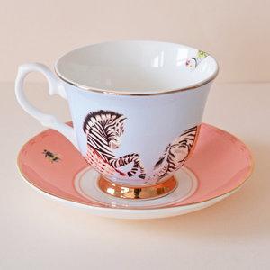 Tazza da tè con piattino zebre
