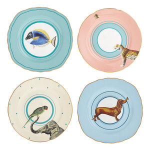 Set 4 piattini torta cane, pesce, elefante, ghepardo cm.16