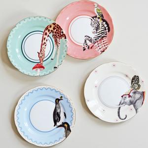 Set 4 piattini torta elefante, pinguino, giraffa, zebra cm.16