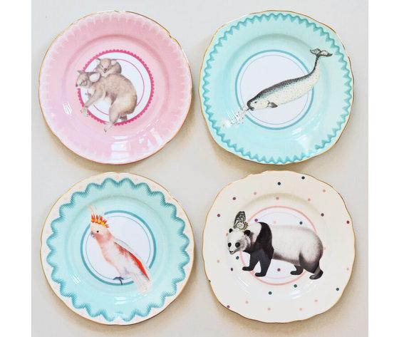 Set 4 piattini torta balena, panda, pappagallo, koala cm.16