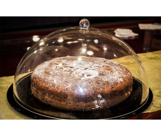 Campana per torta tonda plexiglas cm. 30 con base trasparente cm.33