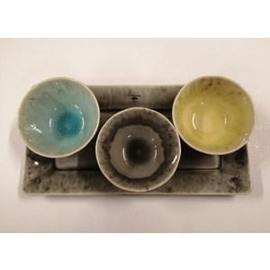 Set appetizer 4 pezzi vassoio grey medio MADEIRA