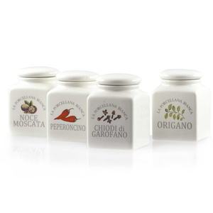 Barattoli porcellana Conserva spezie 4 pz. Mix 1