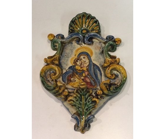 Acquasantiera 15X25 Madonna con Gesù tricolore