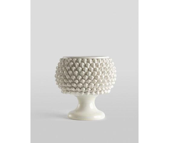 Vaso pigna bianco con piede 25 cm.