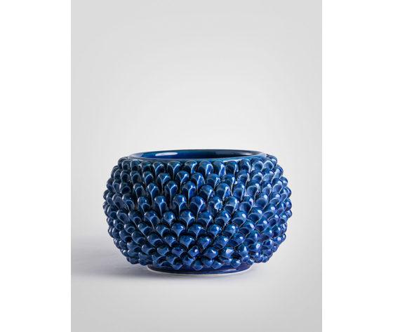 Vaso pigna blu antico 25 cm.