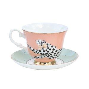 Tazza da tè con piattino Safari Cheetah