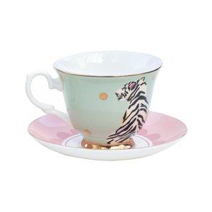 Tazza da tè con piattino Safari Tiger
