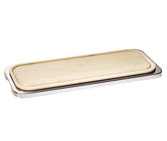 Vassoio rettangolare Linear acciaio inox con tagliere legno