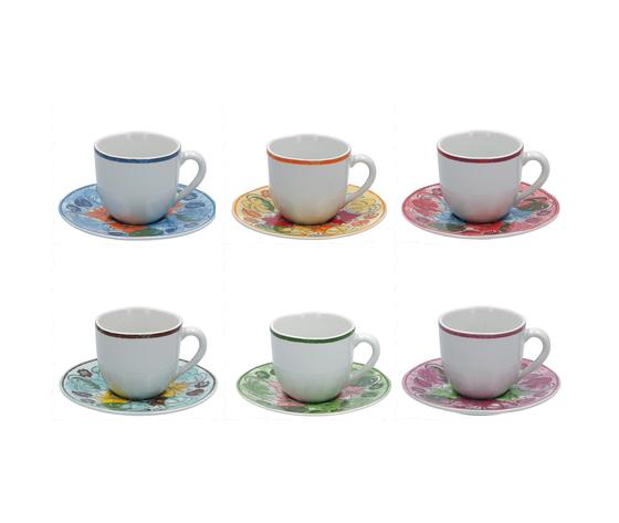 6 tazze caffè c/p. colori assortiti ALOHA cc.120