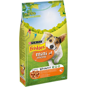 FRISKIES Vitafit Cane Crocchette mini menu <10kg con Pollo e Verdure aggiunte 1,5 kg