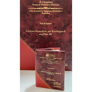 Bomboniera di Laurea (Tesi) Colore Amaranto-fascia metallica rossa