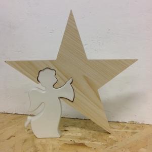 Angelo ceramica  con stella in legno grande