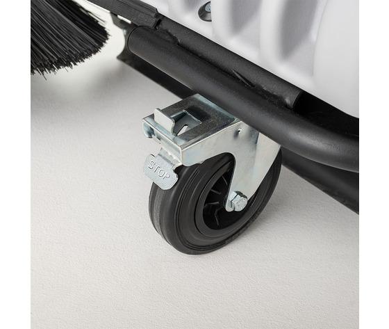 Pivoting wheel with brake