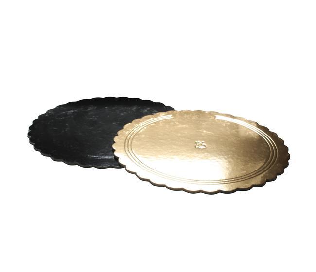 Sottotorta rotondo diametro cm 26 merlettato dorato/nero - imballo kg 10