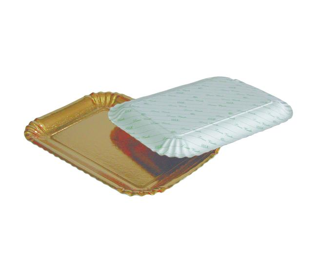 """Vassoio formato """"5"""" cartone dorato - dimensioni cm22x31 - imballo 10 kg"""
