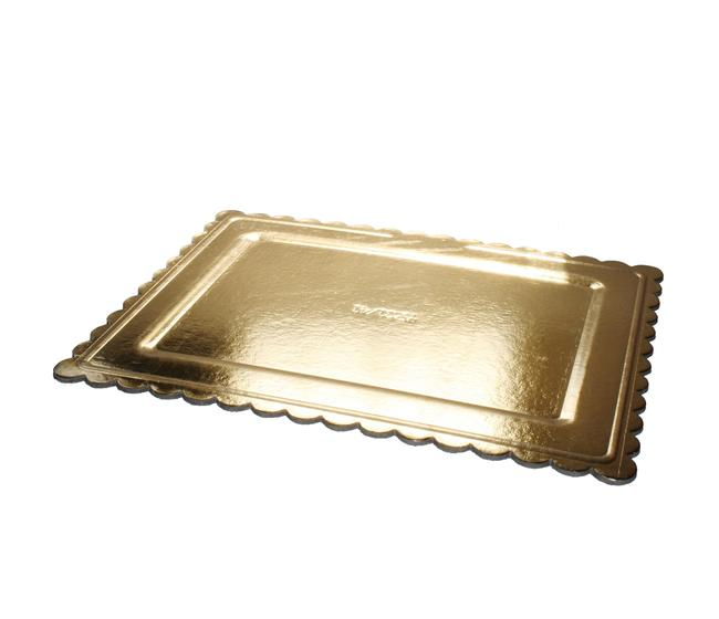 Sottotorta rettangolare formato cm 39x49 merlettato dorato/bianco - imballo kg 10