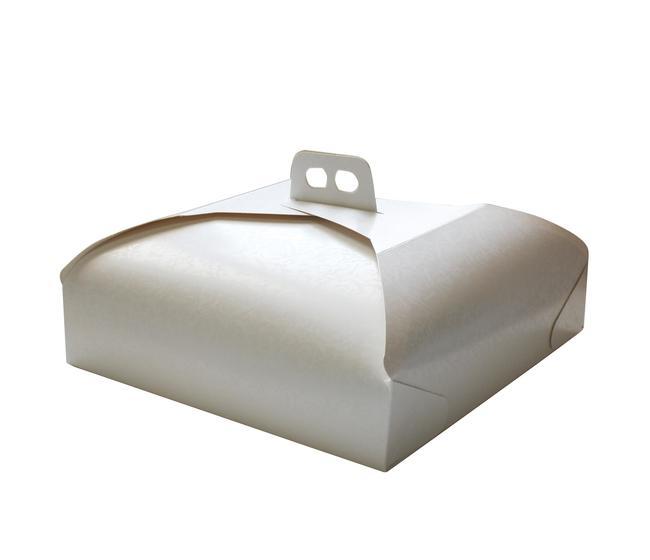 Scatola in cartone per torte con manico formato cm27x27 colore bianco damascato - imballo 1pezzo