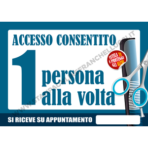 COVID-19 SEGNALETICA ACCESSO BARBIERE UNO ALLA VOLTA