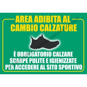 COVID-19 SEGNALETICA PALESTRE - AREA ADIBITA A CAMBIO CALZATURE