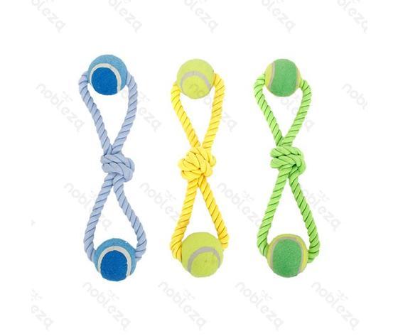 Giocattolo con palle da tennis intrecciate per animali