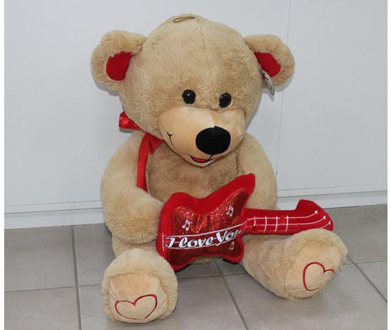 Peluche orso con cuore a chitarra