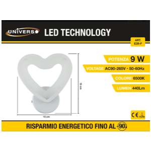 Applique Led a forma di cuore (6500k)
