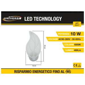 Applique Led a forma di foglia (6500k)