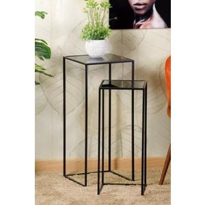 Set da 2 tavolini in ferro con piano in vetro