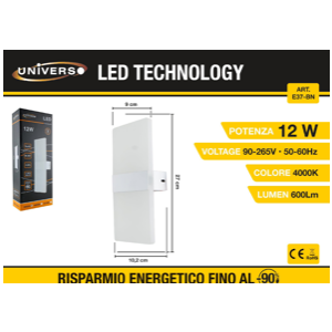 Applique a Led luce con superiore e inferiore (4000k)