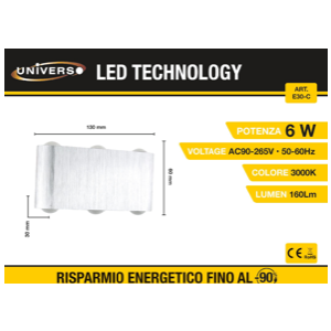 Applique a Led con 6 perle di luce (3000k)