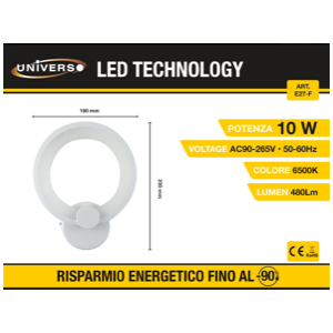 Applique Led a forma di cerchio (6500k)