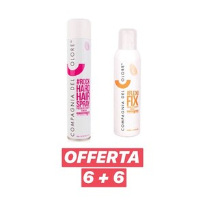 Compagnia del Colore - 6 pz Rock Hard Hair Spray 500 ml + 6 pz Flexi Fix 250 ml