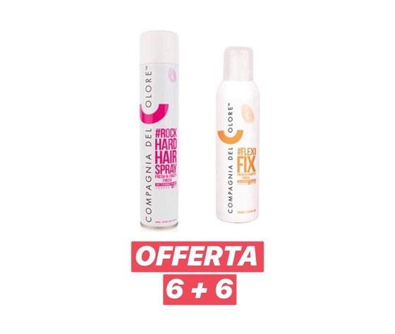 Compagnia del Colore - 6 pz Rock Hard Hair Spray 500 ml + 6 pz Flexi Fix 250 ml