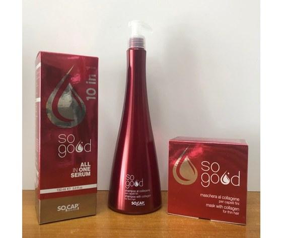 Socap - Kit ristrutturante al collagene per capelli fini Shampoo + Maschera + All in One Sogood