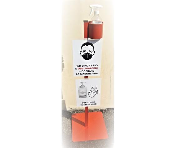 Totem in metallo porta igienizzante per mani con cartello indicativo uso mascherina