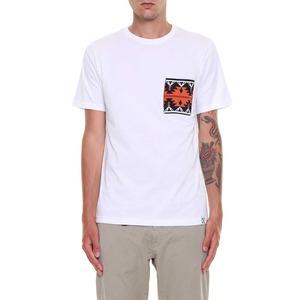 T-shirt bianca  Berna con taschino jacquard etnico art. 200100