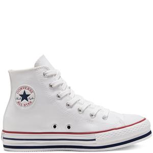 Sneakers Converse Platform Bambina Alte Bianco Tela Suola Alta Stivaletto Art. 668026C