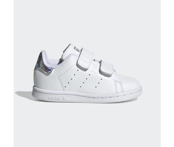 Adidas Stan Smith con Strappi e tallone Shine Argento Bambini ART.EE8485