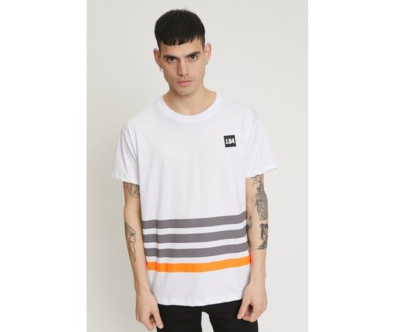 T shirt a righe con patch bianca 1