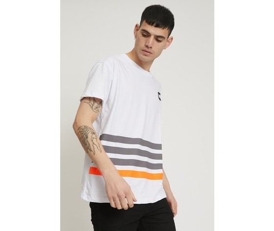 T shirt a righe con patch bianca 2