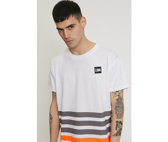 T shirt a righe con patch bianca 3