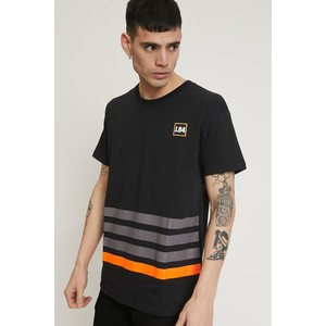 T-shirt uomo Nera JB.4 con righe fluo e Patch art. MS044001 N