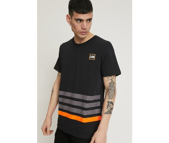 T shirt a righe con patch nera 0